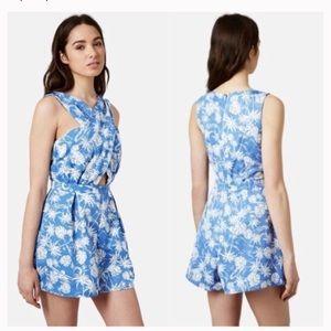 TopShop Blue & white palm print Romper Size 10